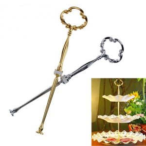Cake Fruit Plates Stand Centre Handle Fitting Rod 3 Tier Revolving Cake Stand Wedding Party Supplies