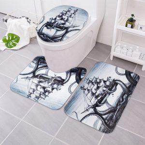 3 st bläckfisk badrumsmatta segla antislipad badmattor toalettstolplatta golvmatta