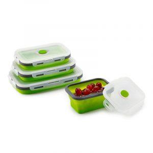 Honana Silikon Fällbar Bento Box Hopfällbar bärbar lunchlåda för mat Servis Matbehållare Matskål