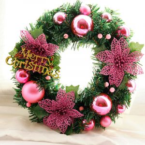 30cm Christmas Wreath Dense Pine Needles Merry Christmas Letters Rattan Door Wreath Decorations