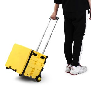 Foldable Plastic Shopping Luggage Cart Trolley Portable Pack Roll Folding Grocery Basket