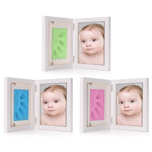 7 Inch New Born Baby Hnad Foot Print Clay Wood Photo Frame Stand Home Decor