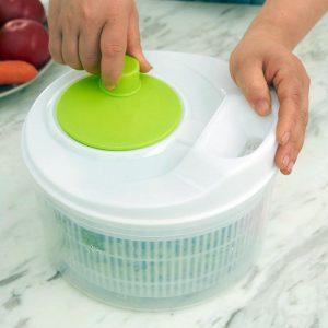 Honana HN-SP1 Easy Spin Salad Spinner Grönsaks- och frukttorkar Multifunktionskökverktyg