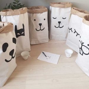 Kids Kraft Paper Cute Storage Bag Baby Animal Letter Toys Clothes Wall Children Sundries Tidy Pocket