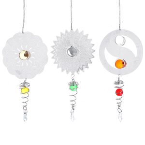 3D Metal Hanging Silent Wind Spinner Wind Chimes Bell Garden Decor Ball In Center