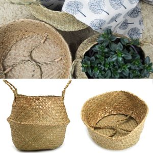 1/2 Pcs Rattan Belly Storage Baskets Laundry Holder Plants Flower Pot Home Decor