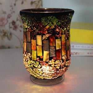 Handgjorda gröna mosaikglas European Vintage Ljusstak Ljushållare Candelabra Home Decor Gift