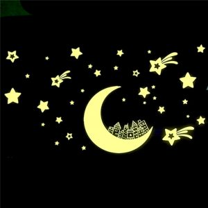 Glow in Dark Moon Star Luminous Stickers Removable Wall Sticker Vinyl Decal Mural Kids Room Decor