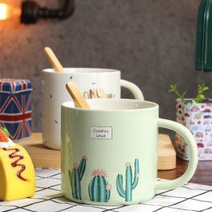 Kreativ keramisk kaffekoppmugg Vattenkopp Kaktusmönster Mugg Hållbar mugg