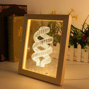KCASA FL-705 3D Photo Frame Illuminative LED Night Light Wooden Annular Desktop Decorative USB Lamp For Bedroom Art Decor Christmas Gifts