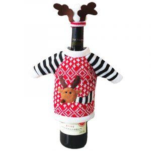 Julvinflaskskydd Juldekoration för hemjulhjort älg rött vin Champagne flaskhölje väska prydnad