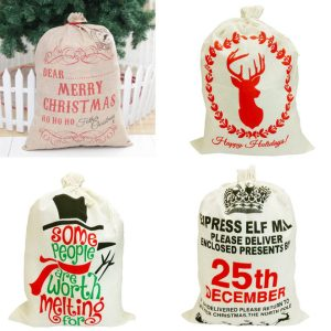 Christmas Santa Gift sack Cloth Stocking Storage Burlap Bag Bundle Christmas Decorations