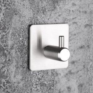 High-end Sticker Adhesive Stainless Steel Hooks Wall Door Clothes Coat Hat Hanger Kitchen Bathroom Rustproof Towel Hook