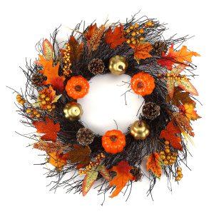 60 cm jullönnlöv Ring Pumpa vinstock krans Garland dörr hängande jul krans dekorationer