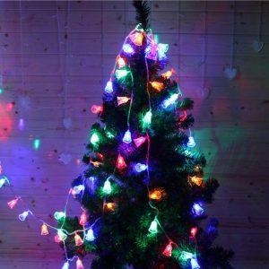 2M 20 LEDs Festival Battery Powered Bells String Lights Christmas Party Outdoor Indoor Decorations  Christmas Bell Festoon Light Waterproof Garden Christmas Tree Decoration Outdoor Night String light