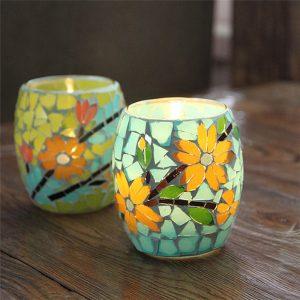 Hantverk Mosaik Glas Pastorale blommor Ljusstake Ljusstake Ljusstake Candelabra Home Decor Gift