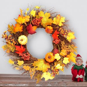 60cm Thanksgiving Wreath Christmas Door Hanging Decorations Maple Leaves Garland