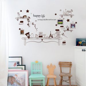 Cartoon Desk Photo Frame Kids Bedroom Wall Sticker Bear And Stars DIY Citat Happy Life Art Decal