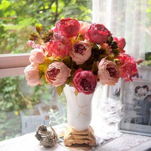1 Bouquet Artificial Peony Silk Flowers Leaf Home Wedding Party Artificial Flowers Decor Bridal