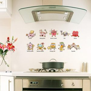 Creative 3D Cartoon Wall Sticker Kitchen Tools Corridor Kindergarten Background Decoration