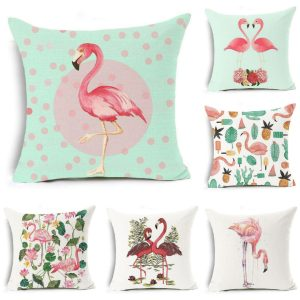 18''x18'' Flamingo Square Cotton Linen Pillow Case Cushion Cover Home Sofa Decor