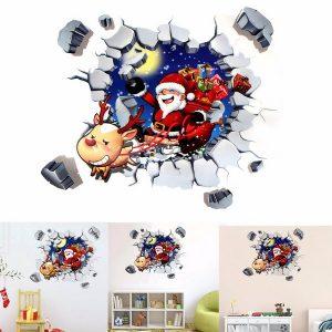 45x60 CM 3D-väggklistermärke Jul Santa Claus självhäftande klistermärke Sovrum heminredning