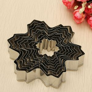 9Pcs Stainless Steel Snowflake Biscuit Cookie Cutters Fondant Cake Decorating Mold