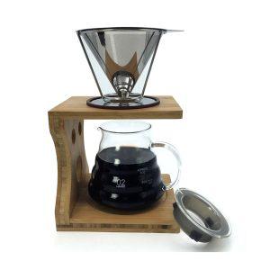 Bärbart återanvändbart rostfritt stål kopp-kon kaffefilter dropp kaffebryggare
