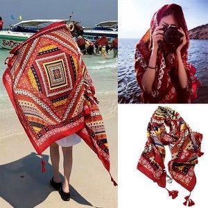 Honana WX-18 100x180cm bohemsk linne strandmatta nationell stil kvinna halsduk lakan tapet
