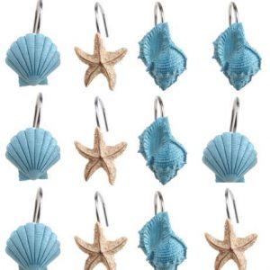 12 PCS Decorative Seashell Shower Curtain Hooks Bathroom Beach Shell Decorations