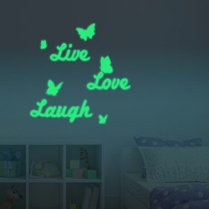 Honana DX-148 60X60cm Fluorescent Glow Letter Live Love Laugh Wall Sticker