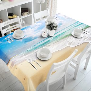 3D Sky Beach 5 bordsduk täcka tyg Födelsedagsfest händelsedekorationer