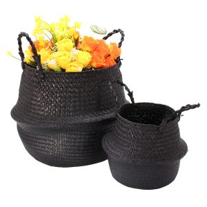 Black Seagrass Belly Basket Storage Holder Plant Pot Bag Hemdekoration Förvaringskorgar