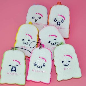 6cm Creative Simulation Colorful kawaii Toast Bread PU Squishy Toy Mobile Phone Chain bag ornaments