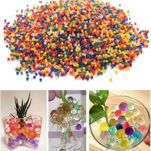 10000PCS / Bag Pärlformad Crystal Jordodling Jelly Balls Hydrogel Gel Polymer Vattenpärlor för växt Blomma Heminredning Leksaker Ball Vase Fillers
