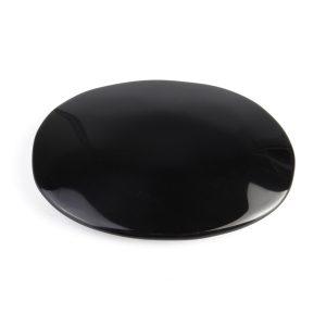 Stor svart Obsidian Oval Palmstone Crystal Gemstone Memorial Scrying Stone Healing US