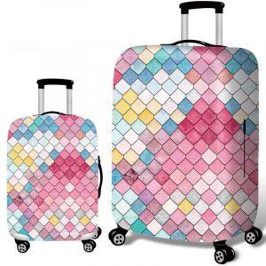 Honana sjöjungfrun präglingsstil Elastisk bagageöverdrag Vagnskåpslock Hållbar resväskeskydd för 18-32 tum väska Varm resetillbehör