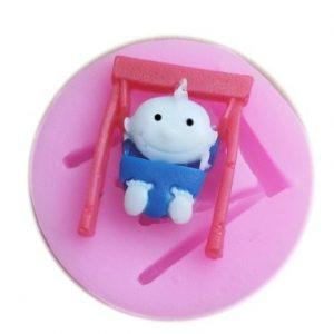 Baby Swing Shape Silikonformar Handgjord tvålform Fondant Tårta Form Dekoration Socker Craft Tools Bakverktyg