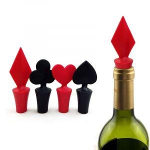 Pokerformad vinstoppare 1 stykke silikon vakuumförseglad vinstopparverktyg