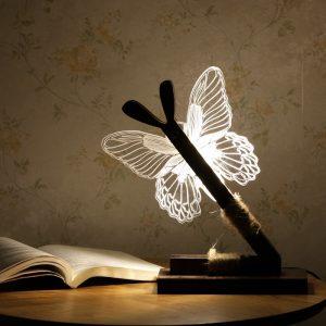 KCASA Creative Butterfly 3D Night Light LED Wood Art Akryl Bordslampa Heminredning Belysning