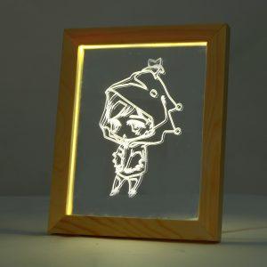 KCASA FL-7010 3D Photo Frame Illuminative LED Night Light Wooden Girl Desktop Decorative USB Lamp For Bedroom Art Decor Christmas Gifts