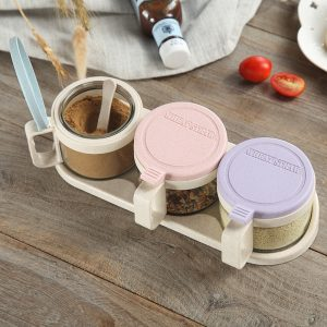 Vete halm glas smaksverktyg flaska krydda låda krydda verktyg tre montering sked bas