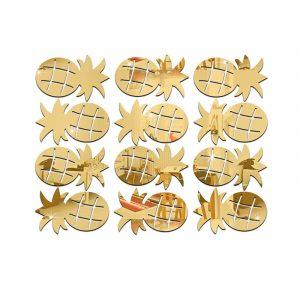 12 st akryl borttagbara spegel väggklistermärken barnrum dekorativa vägg klistermärke DIY hantverk ananas klistermärken hem dekoration