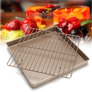 11'' Golden Square Kitchen Cooling Rack Bread Holder Stand Baking Cake Pan Tools
