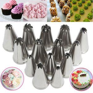 14 st rostfritt stål blomma isläggning rörledningar munstycken tårtedekorationer tillbehör bakverktyg