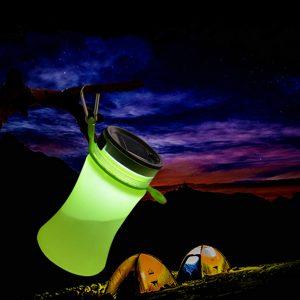 550 ml hopfällbar silikon vattentät sportvattenflaska med solenergiladdning LED-lykta