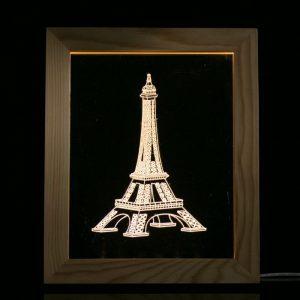 KCASA FL-727 3D Fotoram Belysande LED Nattlampa Trä Eiffeltornet Dekorativ USB-lampa för sovrumskonst Dekor Julklappar