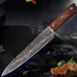 9 tum Damaskus Högkrom Rostfritt stål Kniv Stor vågmönster Trähandtag