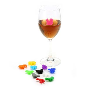 12 Pcs Silicone Animal Emoji Wine Charm Wine Glasses Cocktail Drinks Maker Bar Tools