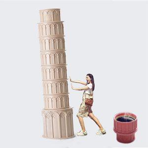 8 delar Creative Italy Leaning Tower of Pisa Kaffekopp med skedar Heminredning Present till vänner